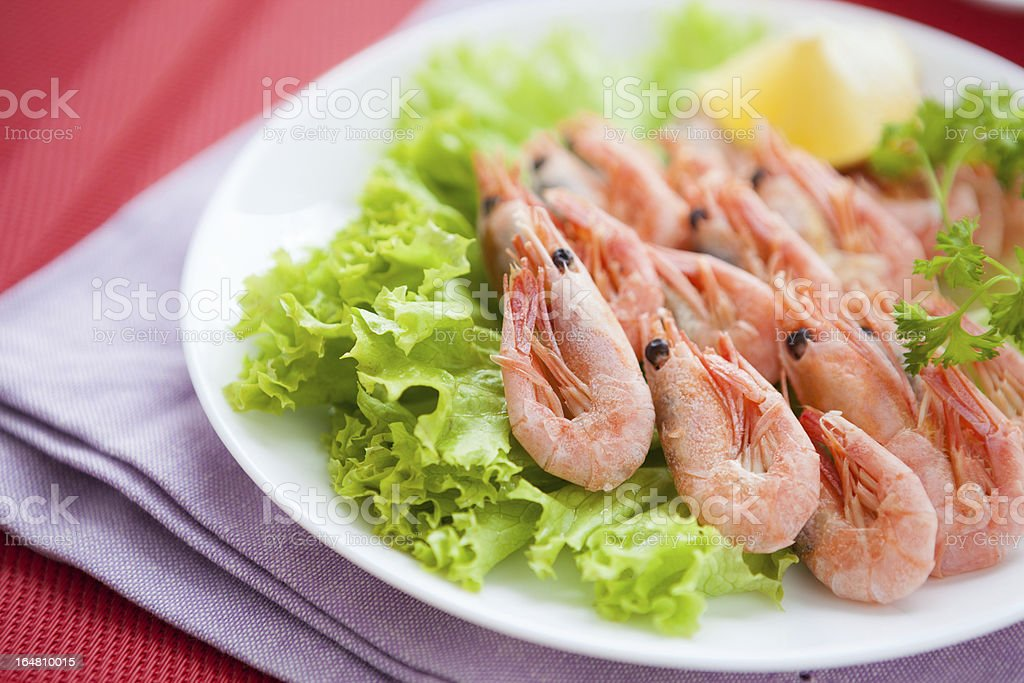 prawns and lettuce leaf on a white plate royalty-free stock photo