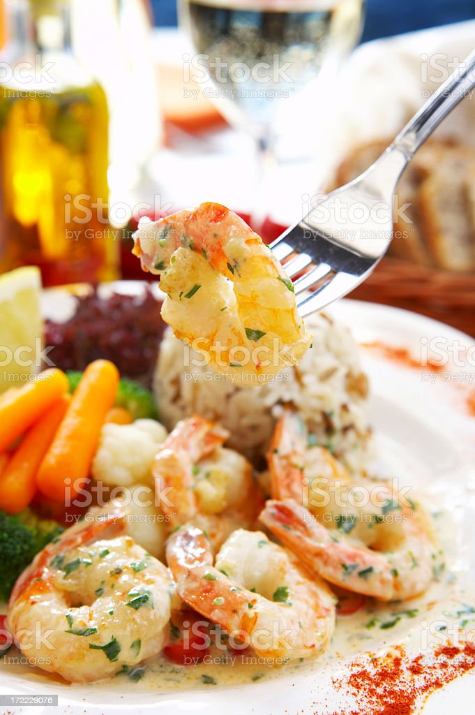 Prawns and vegetables in a cream sauce royalty-free stock photo