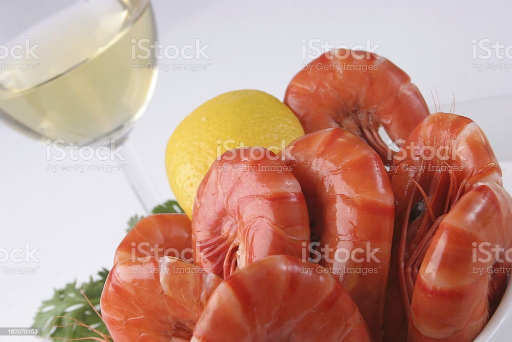 Prawns and white wine royalty-free stock photo