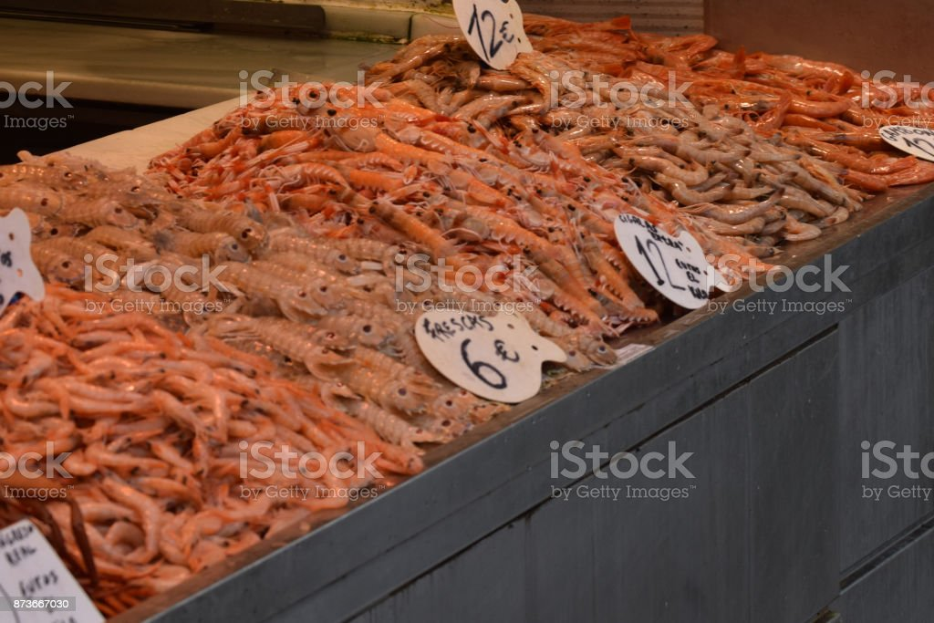 Prawns for sale at Market stock photo