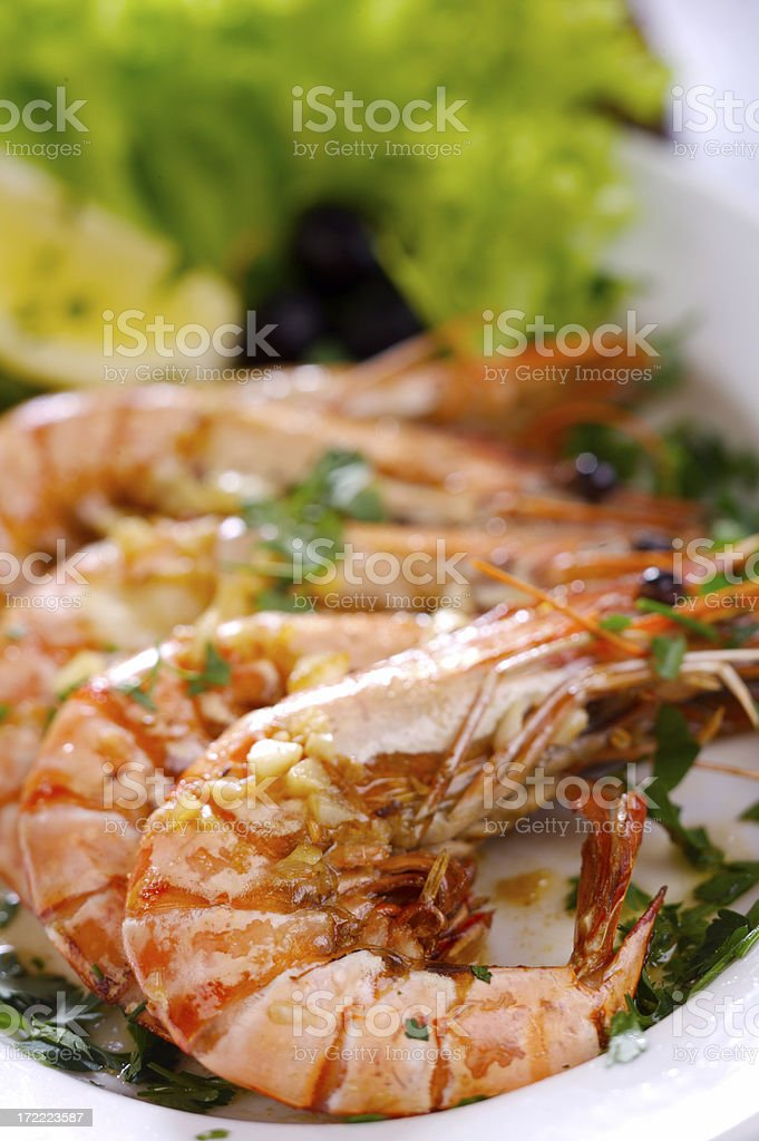 Prawns fried with garlic and wine royalty-free stock photo