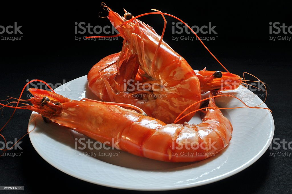 prawns grill stock photo