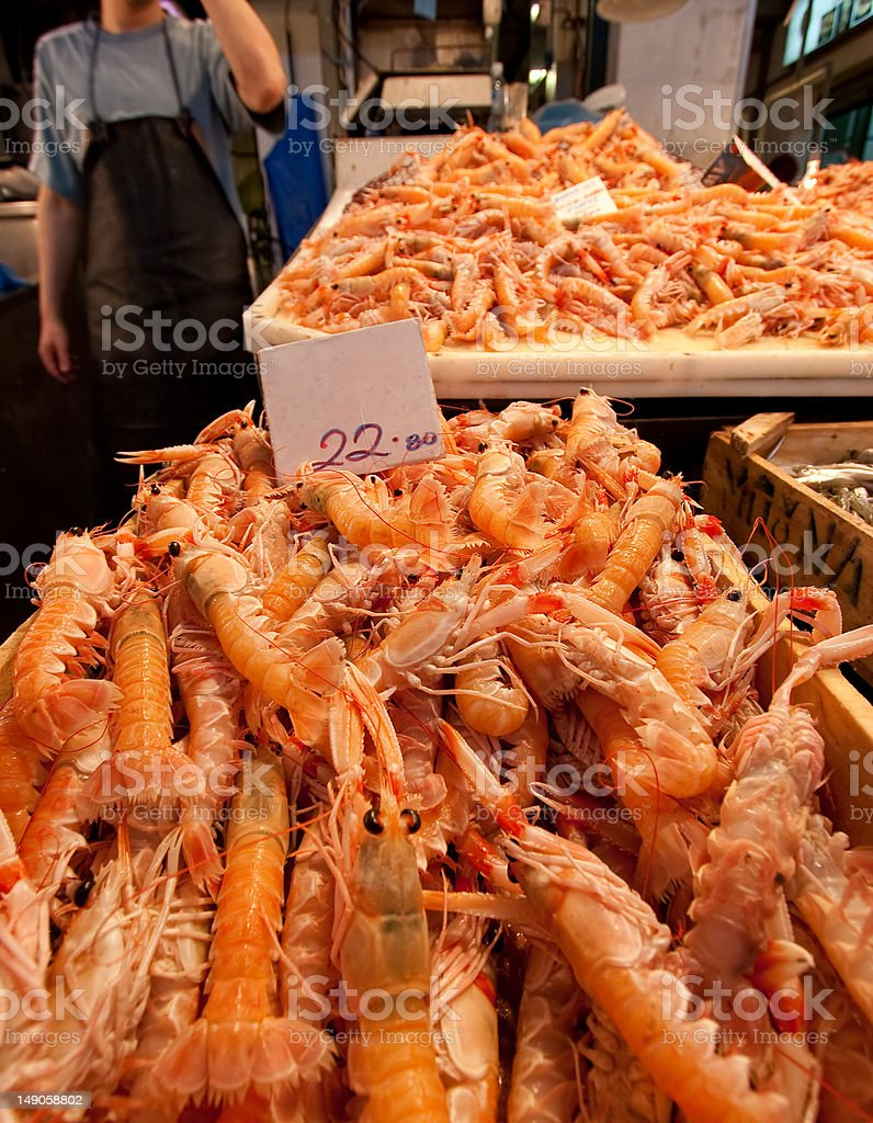 Prawns in market fish stall royalty-free stock photo