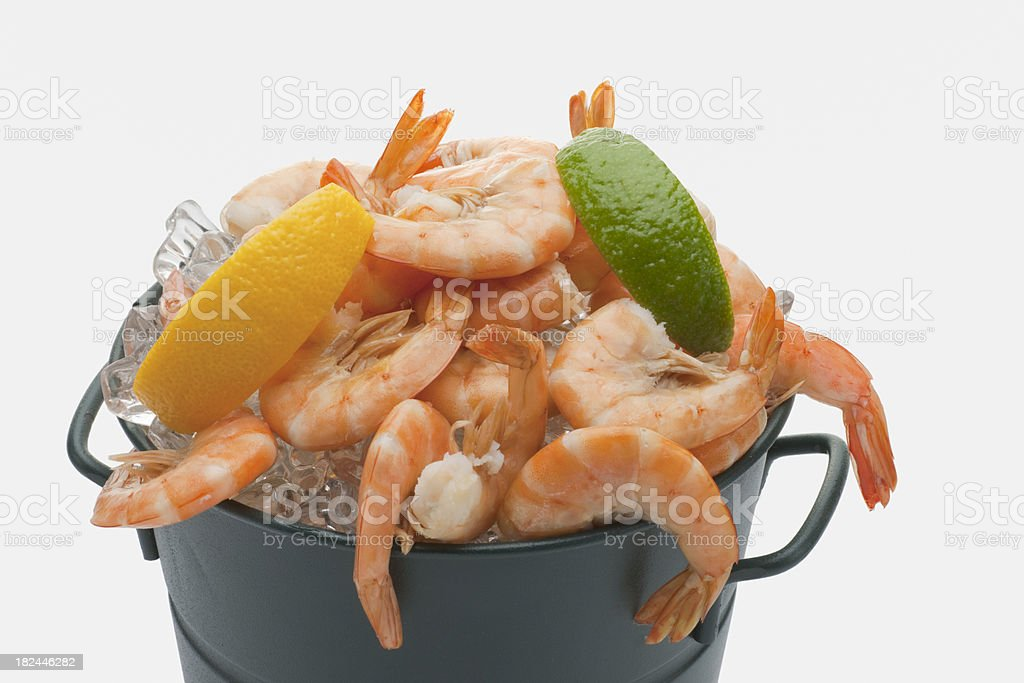 Prawns on Ice in a Bucket royalty-free stock photo