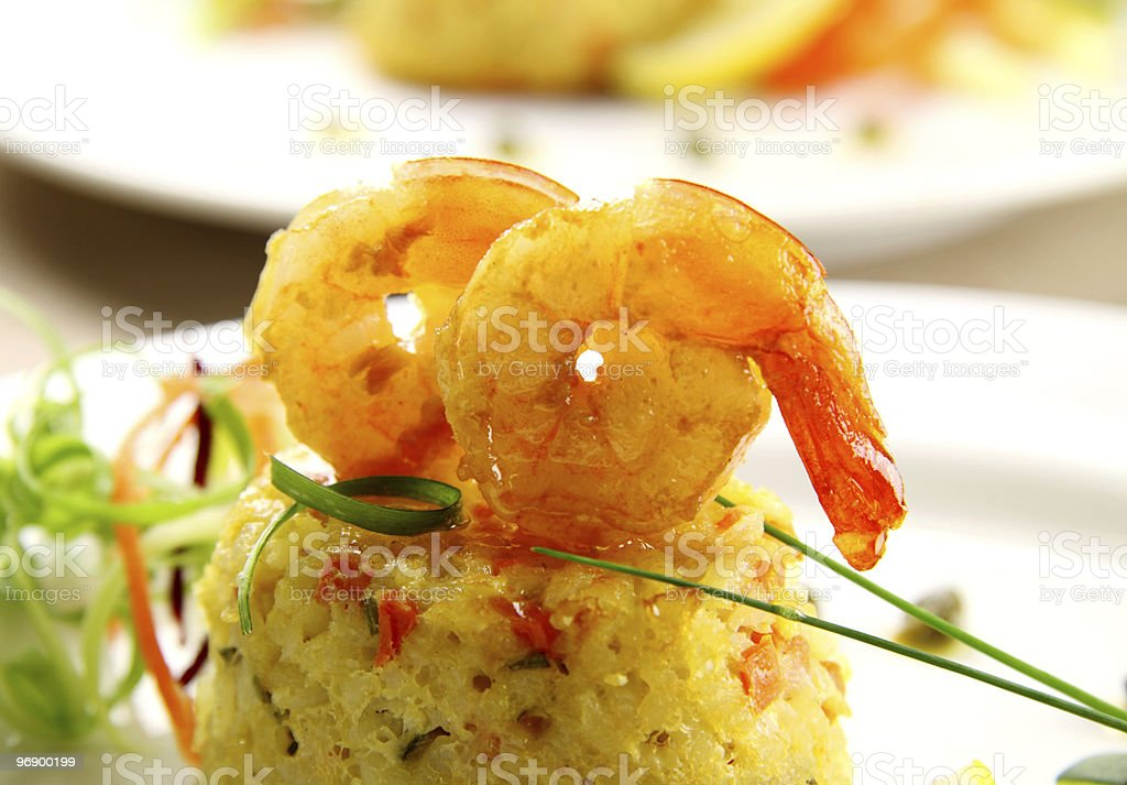 Prawns On Risotto royalty-free stock photo