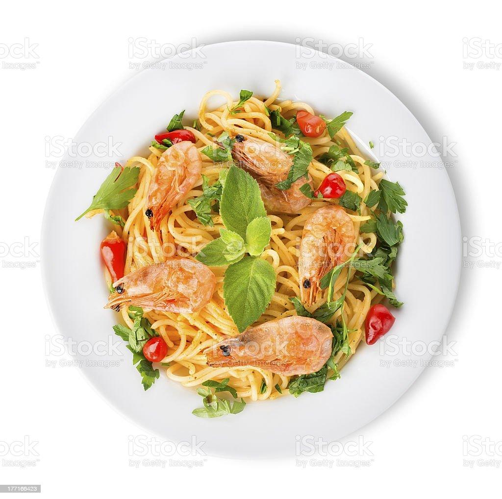 Prawns on spaghetti royalty-free stock photo