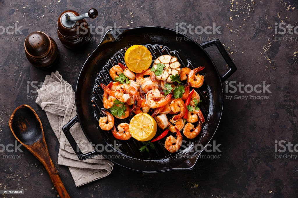 Prawns roasted on frying pan stock photo
