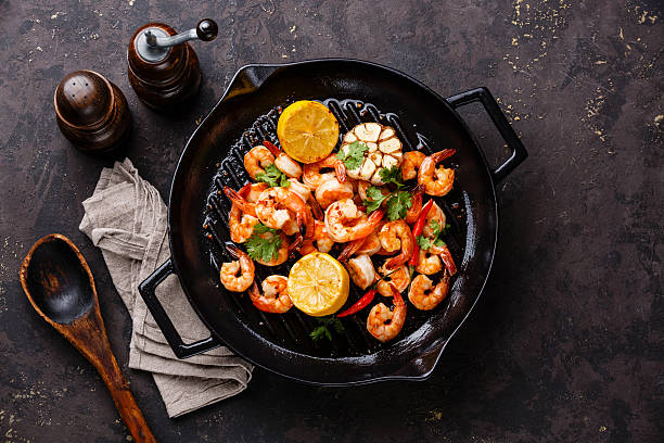 Prawns roasted on frying pan stock photo