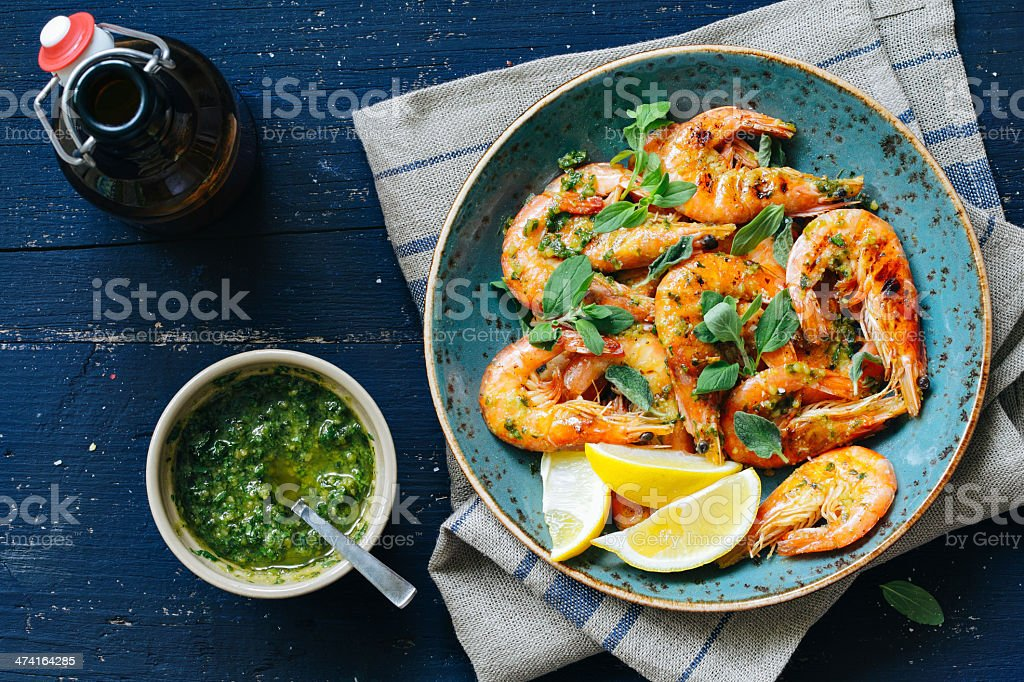 Prawns with chimichurri stock photo