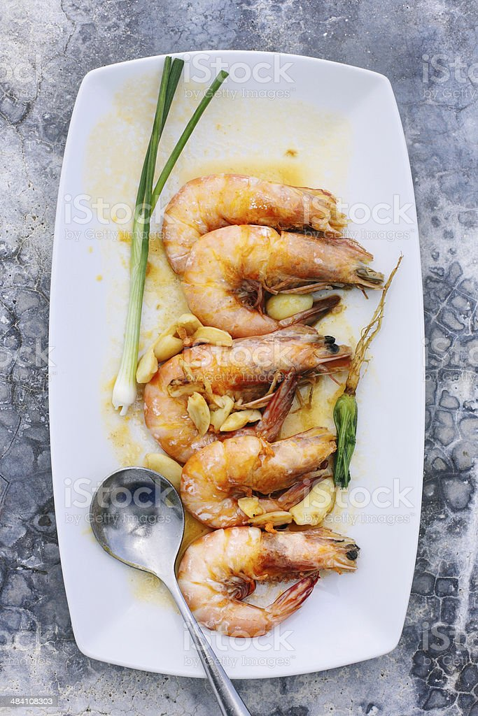 Prawns with garlic stock photo