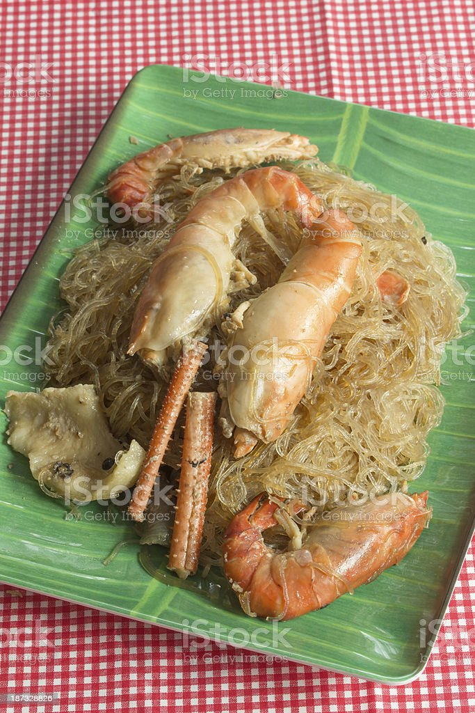 prawns with glass noodles steamed royalty-free stock photo