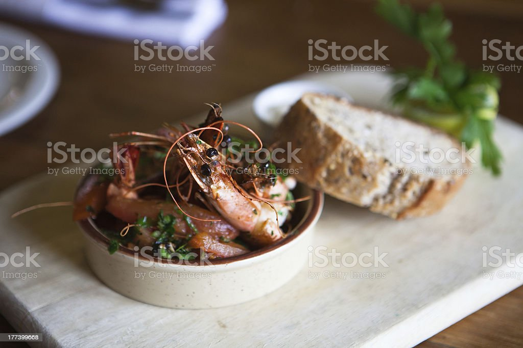Prawns with wholemeal bread gastropub style stock photo