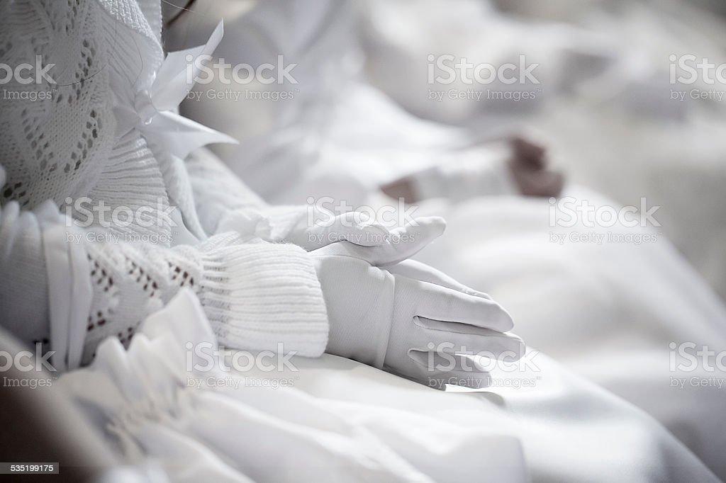 Pray - first holy communion stock photo