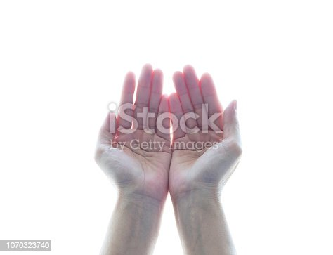 1035928092istockphoto Pray for spiritual support and helping concept with empty woman's hands with open palms 1070323740