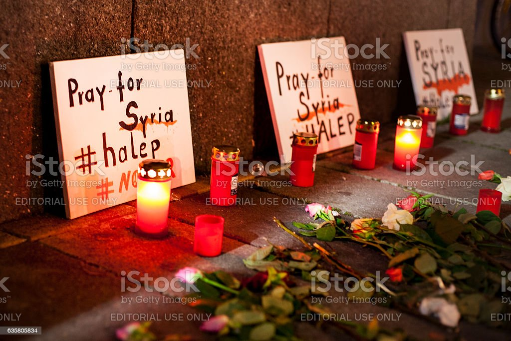 Pray for Syria - candlelight memorial vigil stock photo