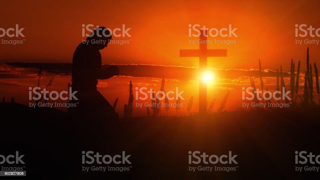 pray to God. stock photo