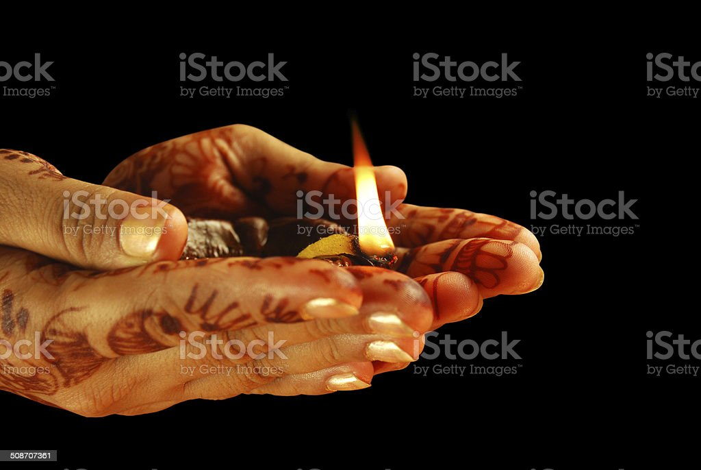 Prayer and Celebrations - isolated over black stock photo