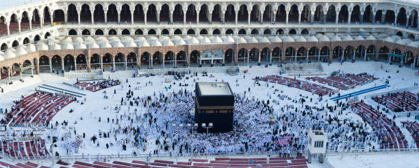 Prayer and Tawaf - circumambulation - of Muslims Around AlKaaba in Mecca, Aerial View Prayer and Tawaf of Muslims Around AlKaaba in Mecca, Saudi Arabia, Aerial Top View circumambulation stock pictures, royalty-free photos & images