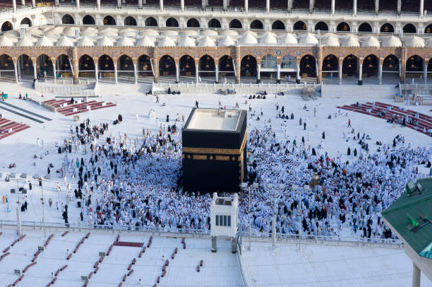 Prayer and Tawaf of Muslims Around AlKaaba in Mecca Prayer and Tawaf of Muslims Around AlKaaba in Mecca, Saudi Arabia, Aerial Top View circumambulation stock pictures, royalty-free photos & images