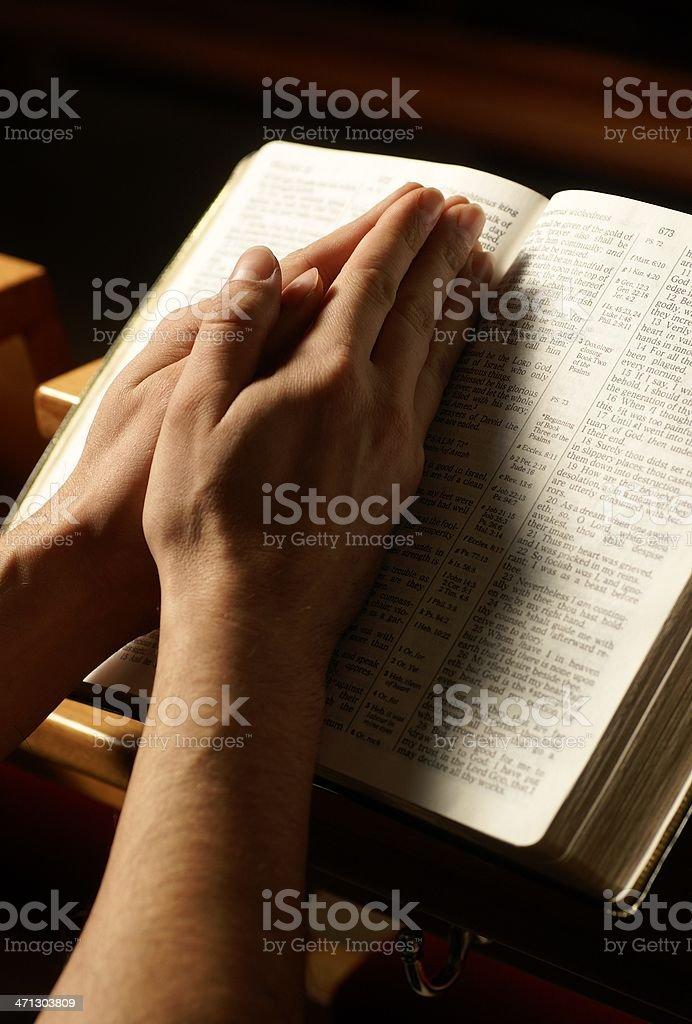 Prayer at the church royalty-free stock photo