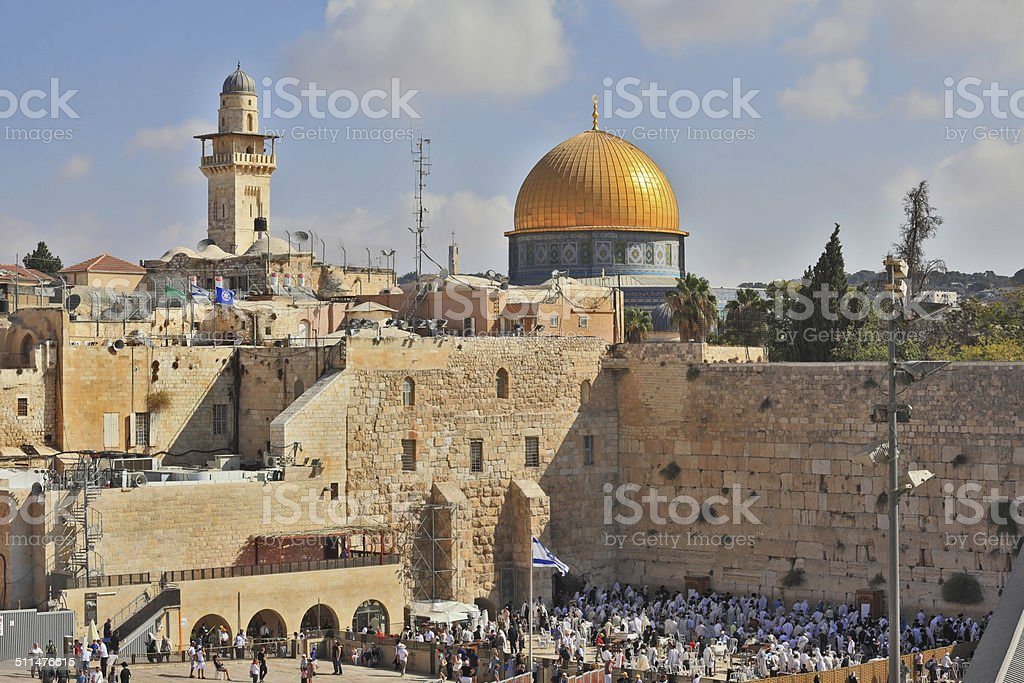 Prayer at the Western Wall of  Temple stock photo