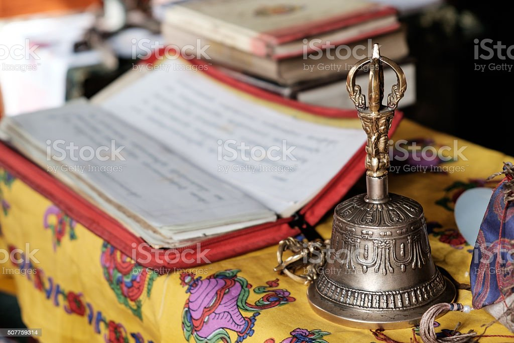 Prayer bell at Changla India stock photo