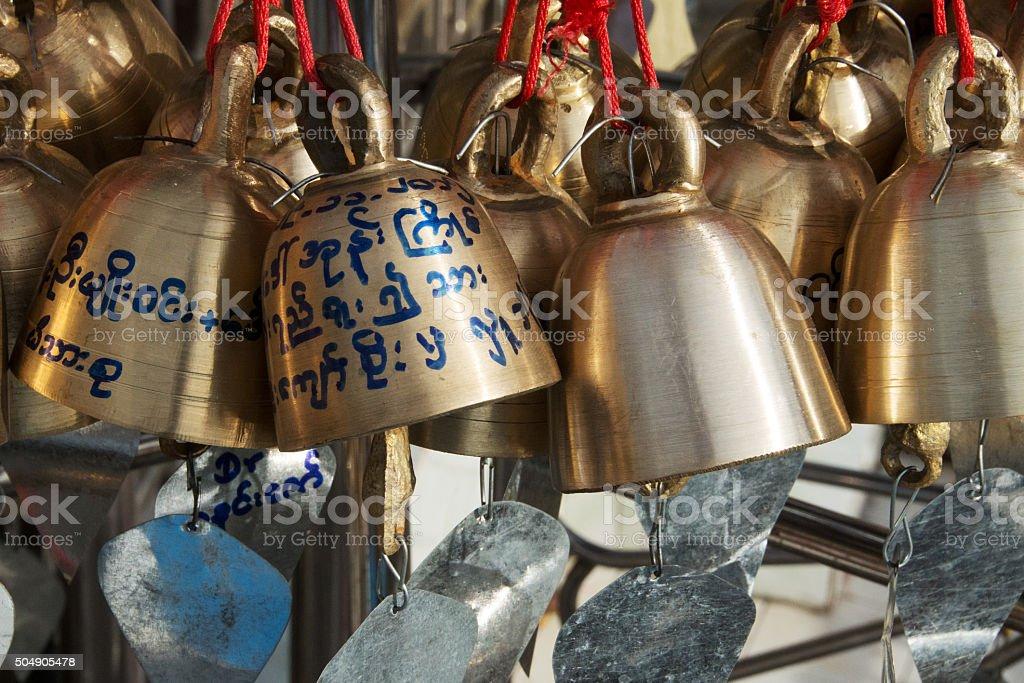 Prayer Bells - Myanmar stock photo