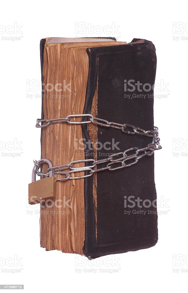 prayer book protected with padlock and chain royalty-free stock photo