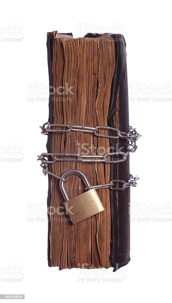 prayer book with padlock and chain royalty-free stock photo