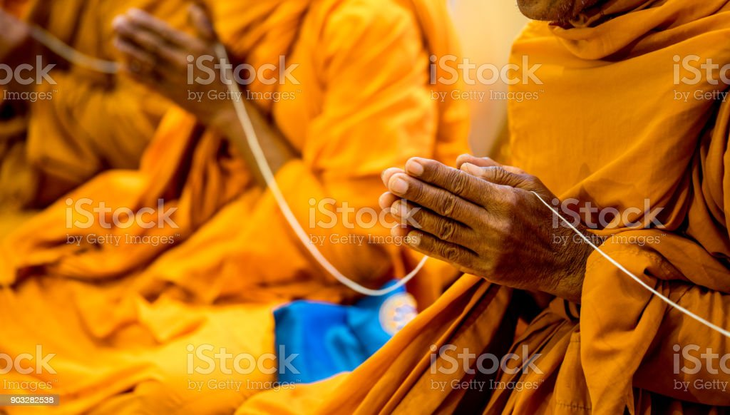 Prayer by the Thai monk and meditation. stock photo