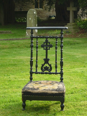 Antique Prayer Chair in Country Churchyard in Herefordshire