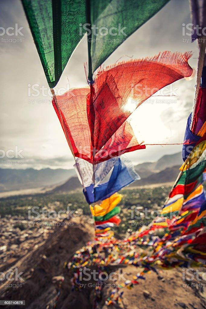 Prayer flag in Leh - capital stock photo