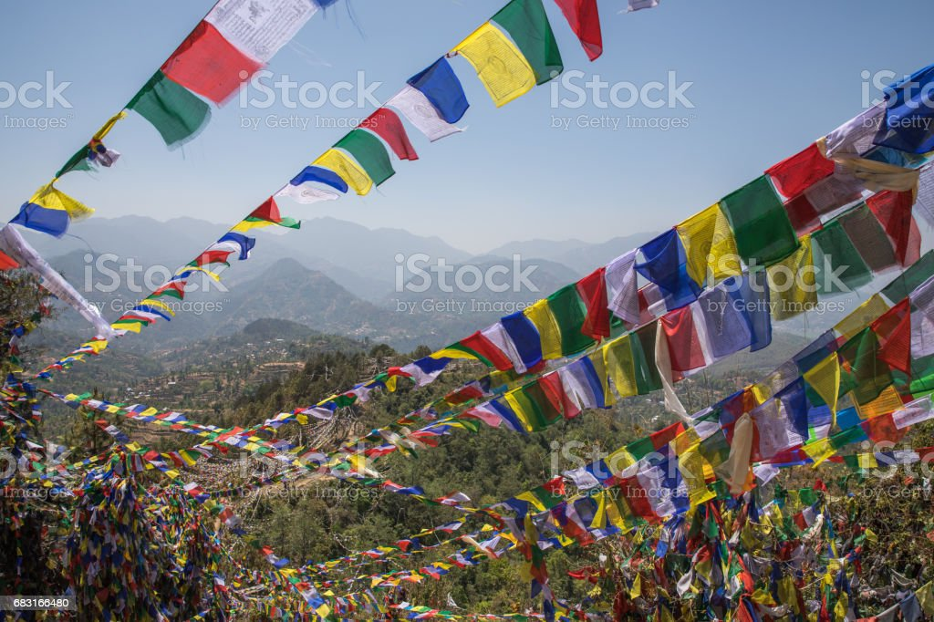 Prayer flag mountain near Namobuddha monastery. stock photo