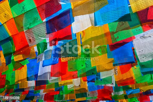 A prayer flag is a colorful panel of rectangular cloth, it is believed to have originated with Bonn in Tibet, traditionally they are woodblock-printed with texts and images.