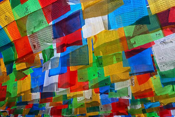 gebetsfahne - nepal tibet stock-fotos und bilder