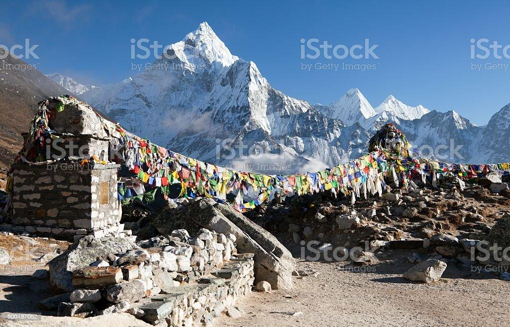 Prayer flags and mount Ama Dablam stock photo