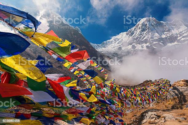 Prayer flags and Mt. Annapurna I background from Annapurna Base Camp ,Nepal.