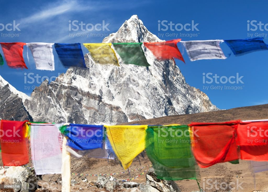 prayer flags and Nepal Himalayas mountains stock photo