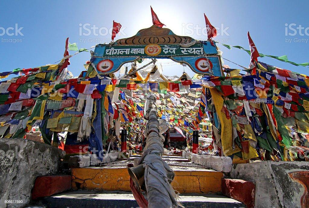 Prayer flags at Changla Pass,Ladakh, India stock photo