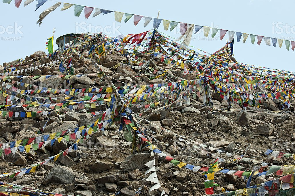 Prayer Flags at Khardung La Pass India royalty-free stock photo