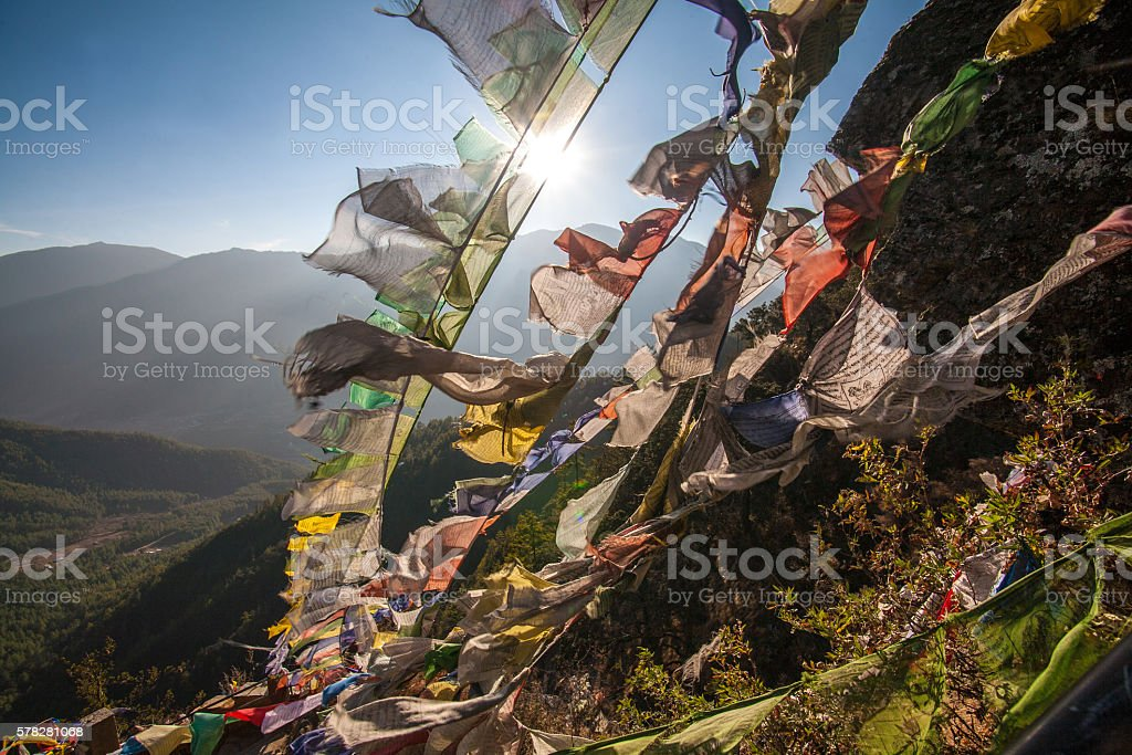 Prayer Flags at Taktsang Mount, Bhutan stock photo