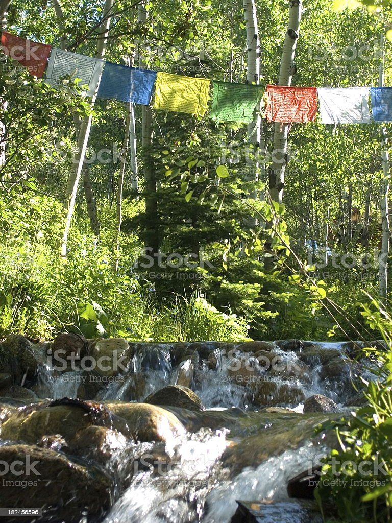 Prayer Flags Hanging Over the River royalty-free stock photo