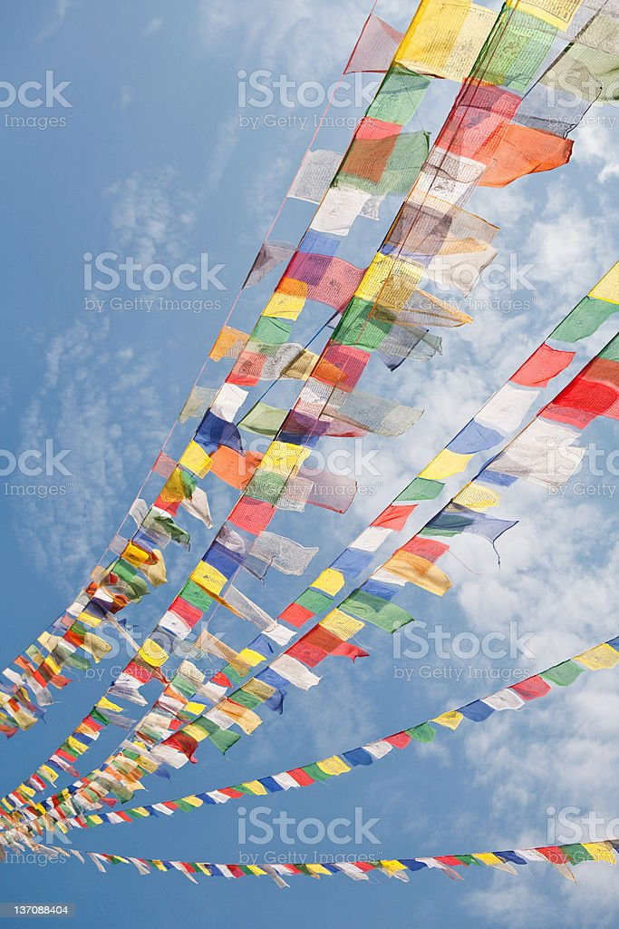 Prayer flags in Bodnath stock photo