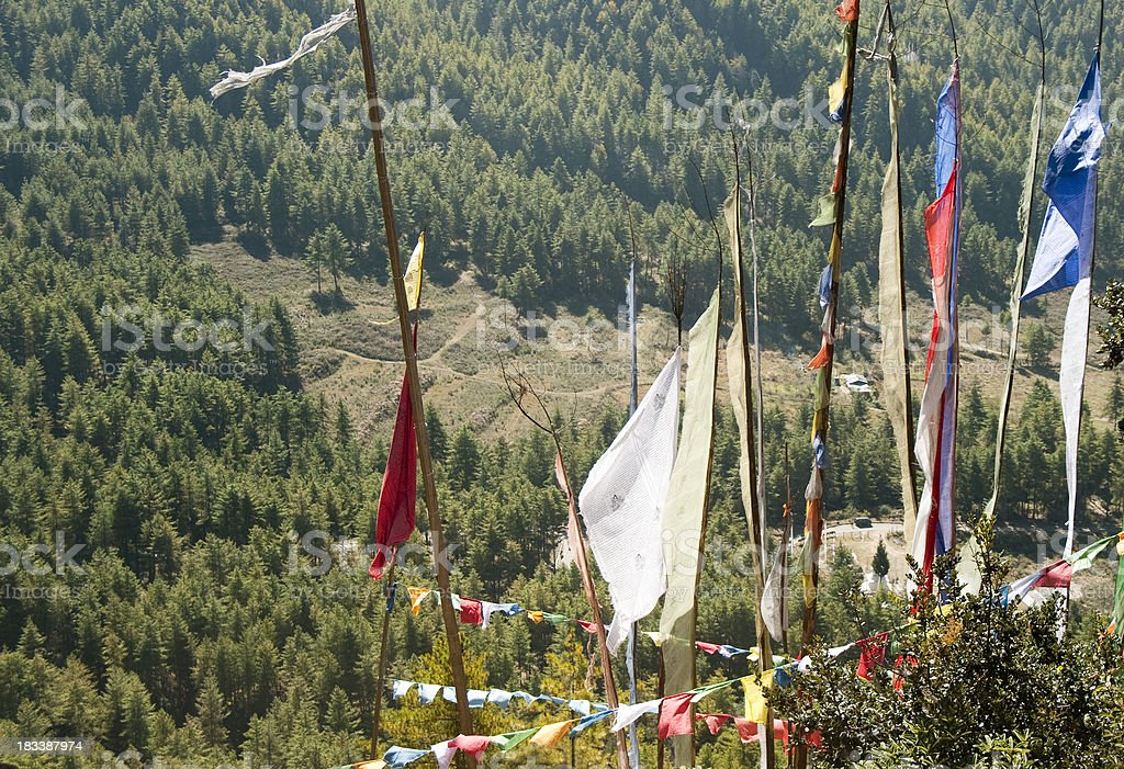 Prayer Flags in Himalayan landscape royalty-free stock photo