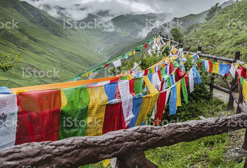 Prayer flags in the mountain stock photo