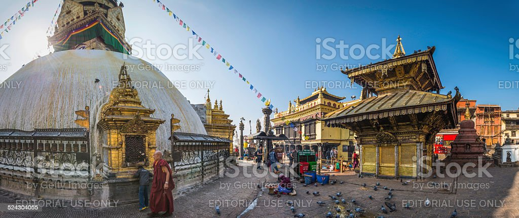 Prayer flags monks and shrines Swayambhunath Monkey Temple Kathmandu Nepal stock photo