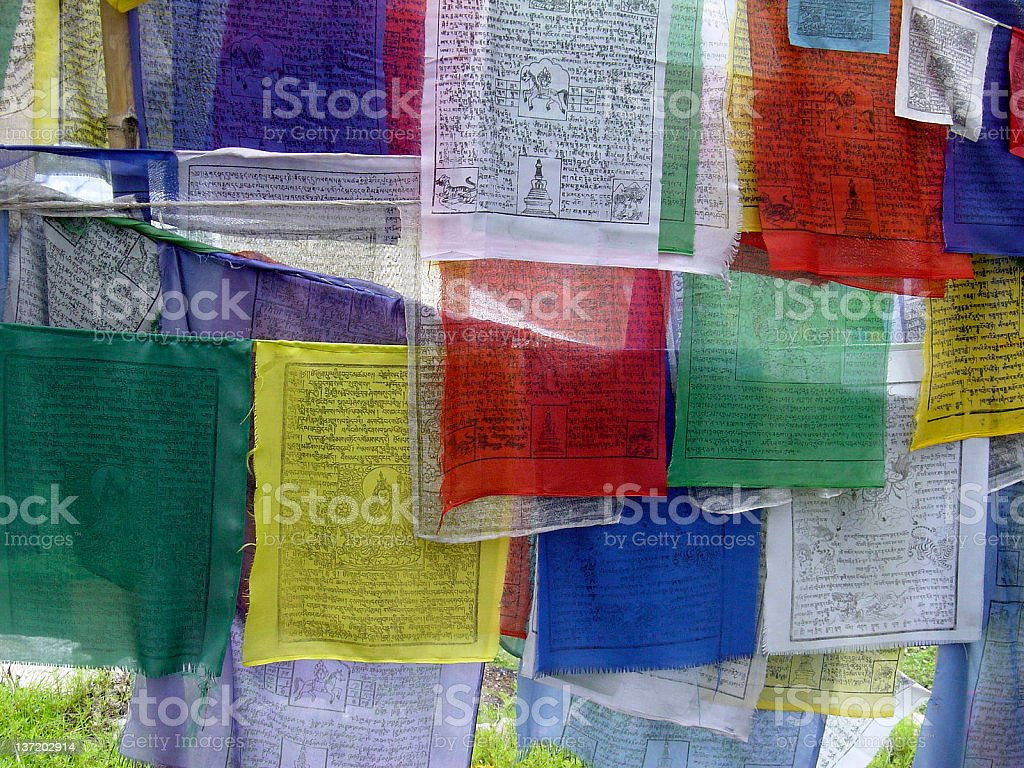 Prayer flags, Sikkim, India royalty-free stock photo