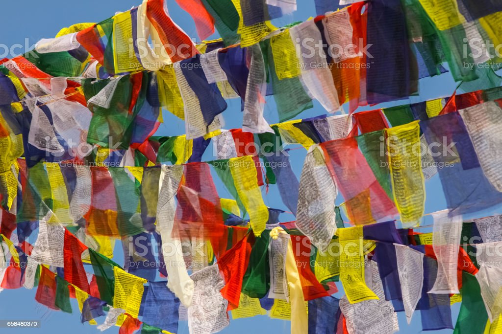 Prayer flags, Stupa Boudhanath, Kathmandu Valley stock photo