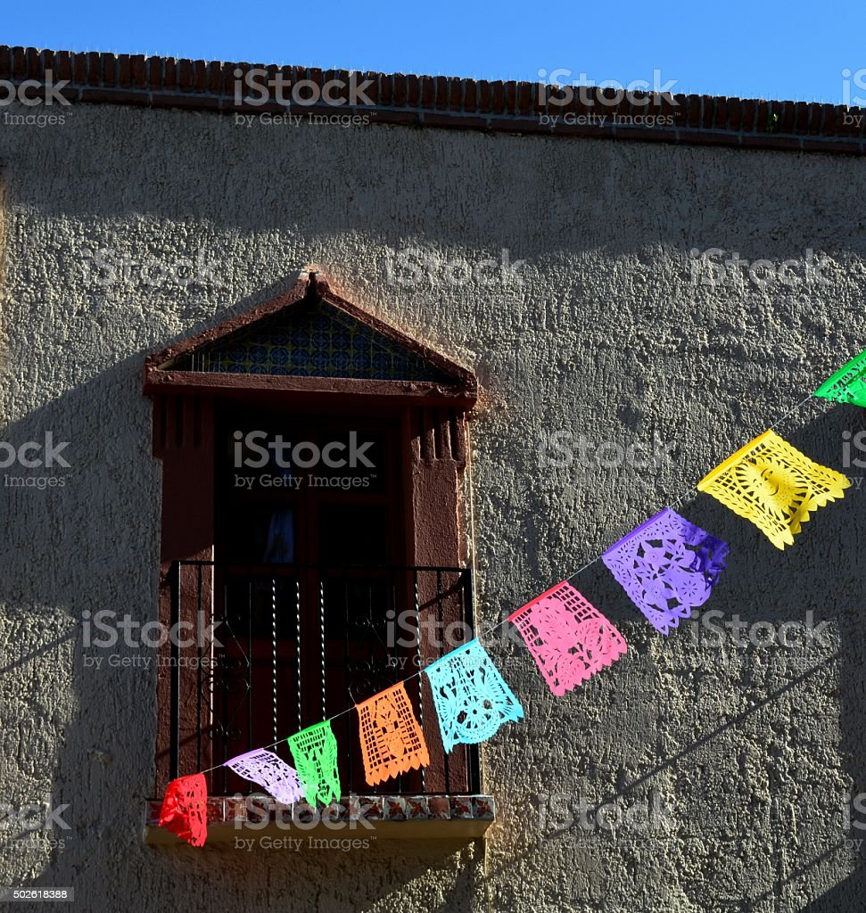 Prayer Flags Window stock photo