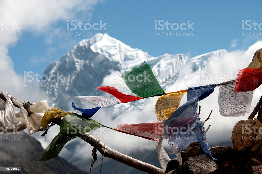 Prayer flags with Himalaya in the background stock photo
